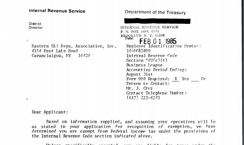 3. EWSRA IRS 501c6
